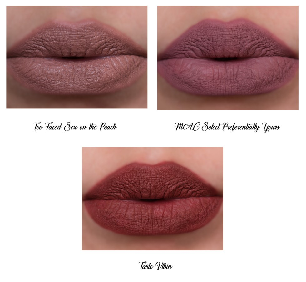 Too Faced Peach Kiss Moisture Matte Long Wear Lipstick in Sex on the Peach swatch