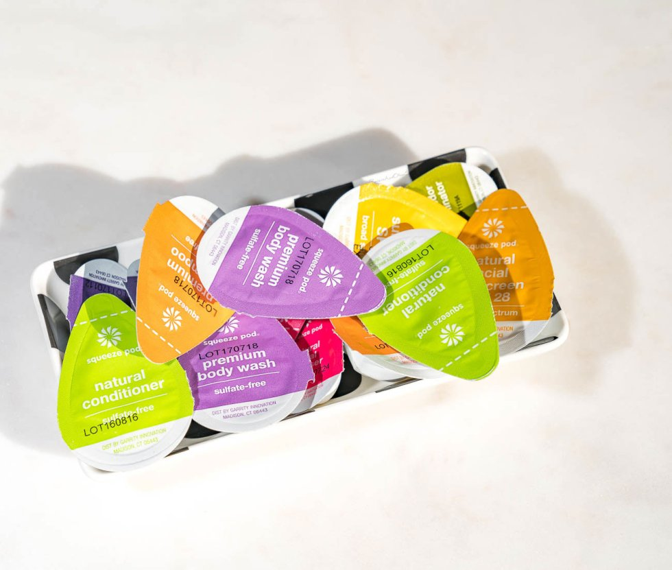squeeze pods single-use toiletries