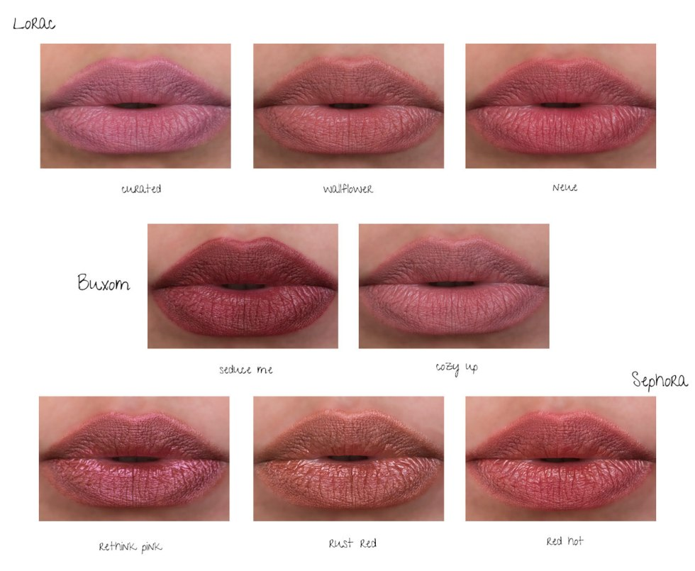 Lorac PRO Hi-Res Lip & Cheek Powder, Sephora Collection Lip Powder, buxom pillow pout lip powder swatches