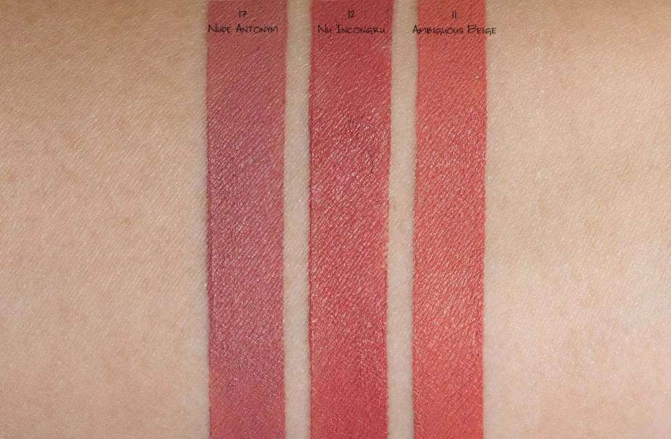 YSL Rouge Pur Couture The Slim Matte Lipstick in 11 ambiguous beige, 12 nu incongru, 17 nude antonym