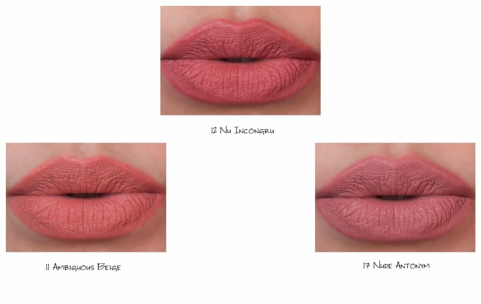Yves Saint Laurent YSL Rouge Pur Couture The Slim Matte Lipstick in 11 ambiguous beige, 12 nu incongru, 17 nude antonym