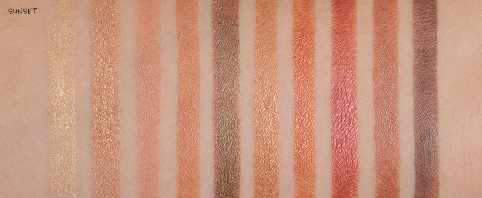 e.l.f. rose gold eyeshadow palette in sunset swatch