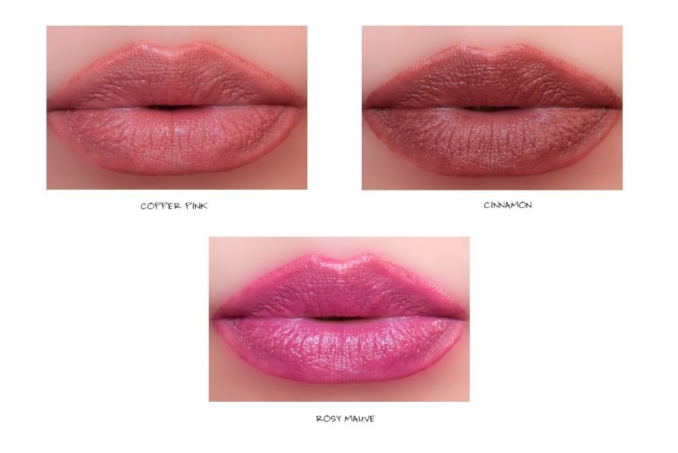 burberry lip velvet crush swatch copper pink cinnamon, rosy mauve