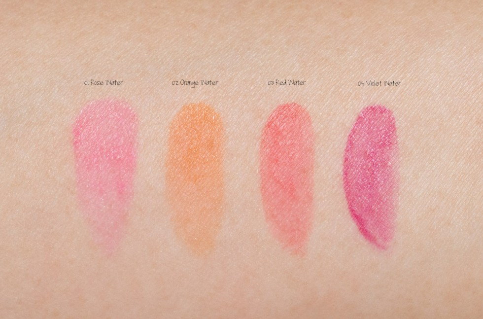 clarins water lip stain 01 rose water, 02 orange water, 03 red water, 04 violet water swatches
