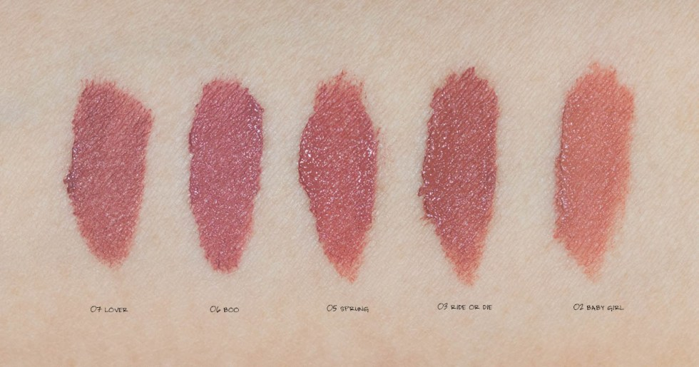 Kaja Beauty Air Heart Lipstick lip swatches 03 ride or die, 05 sprung, 06 boo, 07 lover, 02 bby girl