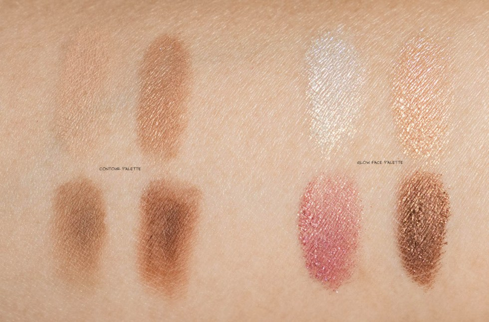 dior backstage contour palette swatch and glow face palette swatches