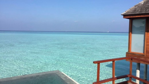 View from the deck of the over water pool villa