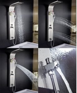 ELLO&ALLO Stainless Steel Rainfall Waterfall Shower Panel Tower Rain Massage System with Jets,