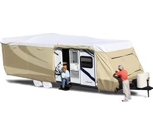 ADCO 32840 Designer Series Tan White Tyvek Travel Trailer RV Cover