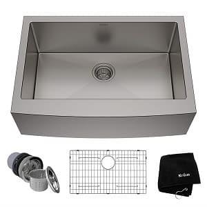 Kraus KHF200-30 30 inch Farmhouse Apron Single Bowl 16 gauge Stainless Steel Kitchen Sink