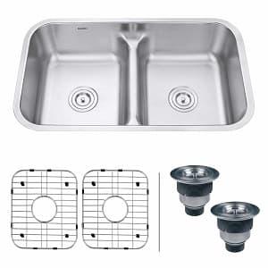 Ruvati 32-inch Low-Divide 50 50 Double Bowl Undermount 16 Gauge Stainless Steel Kitchen Sink-