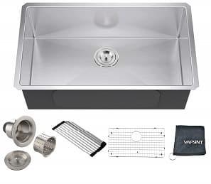 VAPSINT Commercial Real 18 Gauge 30 Inch Handmade Drop In Undermount Single Bowl Stainless Steel Kitchen Sinks