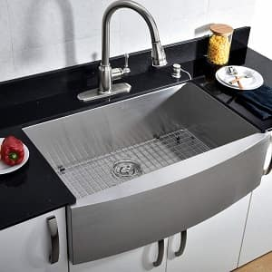 VCCUCINE Commercial Brushed 30 inch Handmade Apron Single Bowl 304 Stainless Steel Farmhouse Kitchen Sink