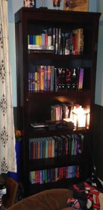 My bookcase at the beginning of my cleaning and organizing process.