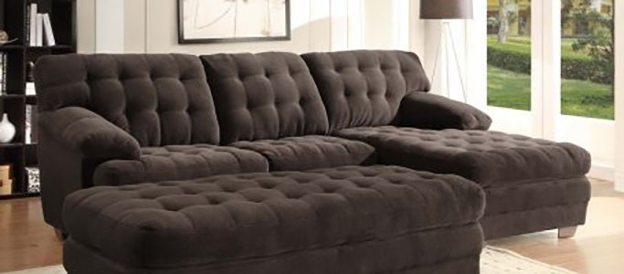 Home Elegance 9739CH Channel-tufted 2 Pieces Textured Plush Microfiber Sectional Sofa Set