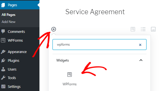 This image shows how to publish signature fields enabled forms in gutenberg editor