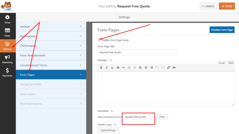 How to add form pages in wpforms by wordpress