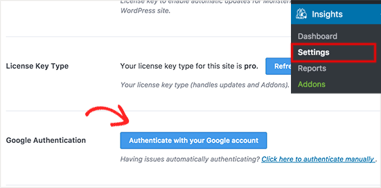 Google authentication step in installing stats dashboard on wordpress website using mosnterinsights.