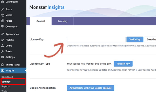 Install google analytics stats dashboard on wordpress site using monsterinsights.
