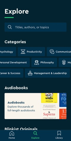 Explore on Blinkist iPhone app | Blinkist review
