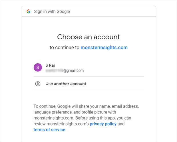monsterinsights google sign in