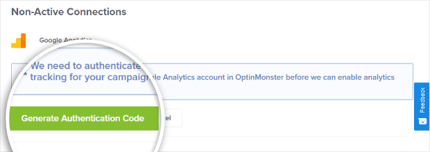 google analytics authentication on optinmonster