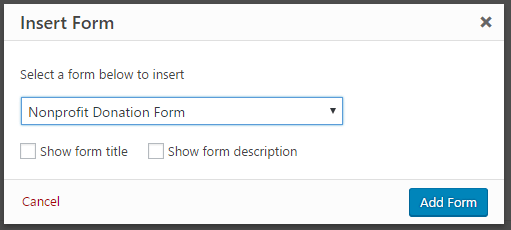 non profit donation form on wp forms