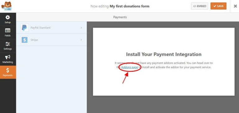 payment integration in WP Forms | donation forms wordpress