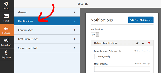 notification settings | wp forms