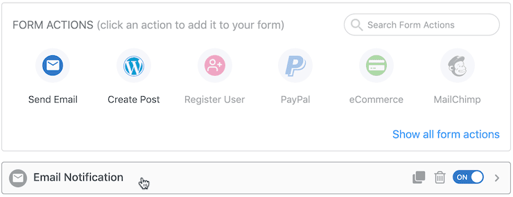 formidable forms notification settings