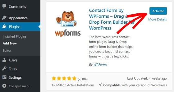 activate wpforms plugin