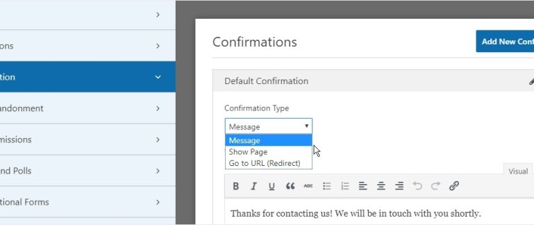 form submission confirmation message in wpforms