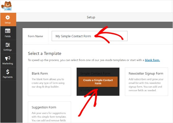 create simple contact forms in wordpress