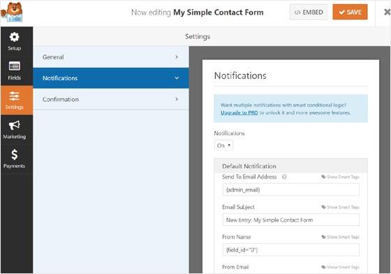 set form notifications in wpforms