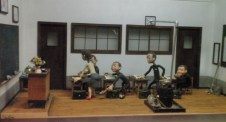 This is a miniature clay caricature of a Korean classroom, found at Love Land on Jeju island, South Korea.