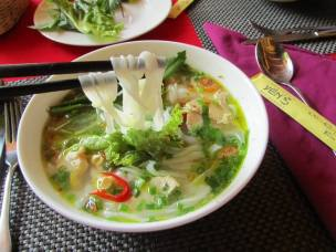 Vietnamese chicken noodle soup, or pho bo, is a delicious meal for breakfast, lunch and supper.
