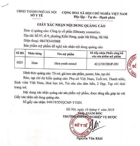 giấy phép quảng cáo kem Hera Youth Extend