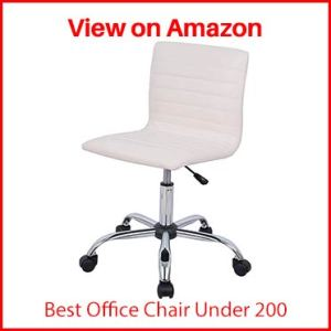 AmazonBasics Modern, Low-Back, Adjustable, Swivel, Armless Office Task