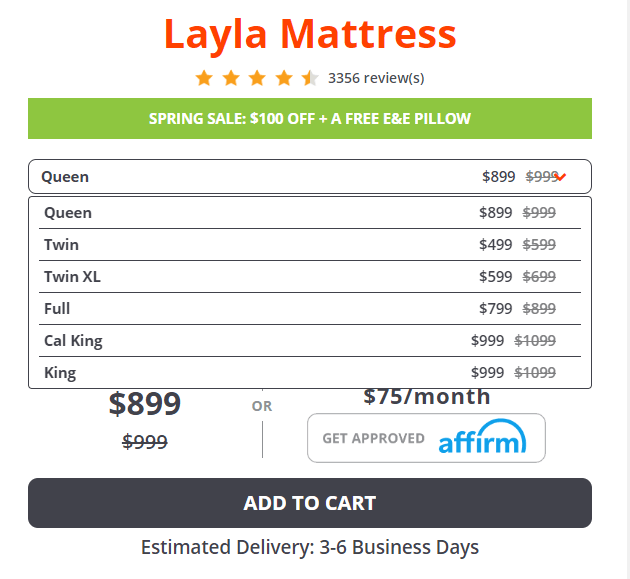 layla-mattress-pricing-discount-coupon-code