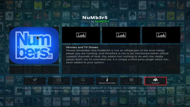 Step 23 Installing Numb3r5 on Kodi