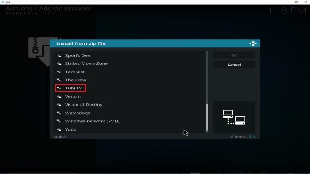 Step 17 Installing Tubi TV addon on Kodi