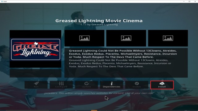 Step 23 Installing Grease Lightning addon on Kodi