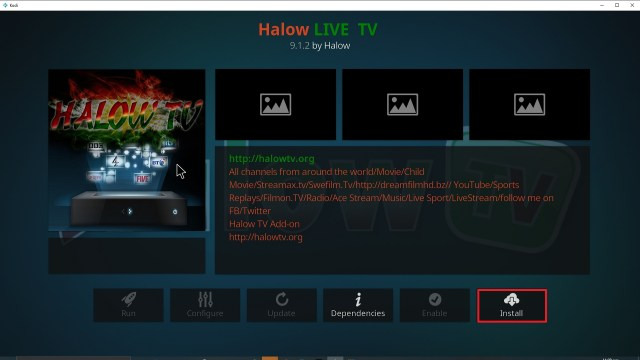 Step 23 Installing Halow TV addon on Kodi