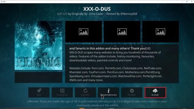 Step 23 Installing XXX-o-DUS redux addon on Kodi