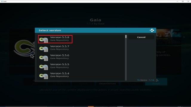 Step 24 Installing Gaia addon on Kodi