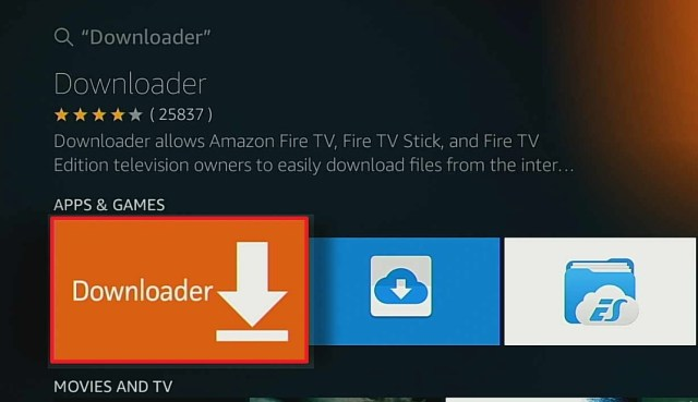 firestick click on the downloader icon