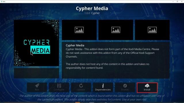 Step 23 Installing Cypher Media Kodi addon on Kodi