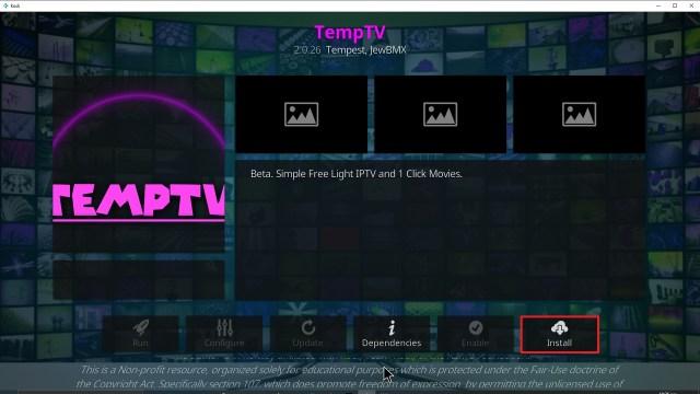 Step 23 Installing TempTV Kodi addon on Kodi
