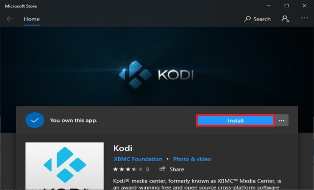 Step 6 Install Kodi from the Microsoft Store