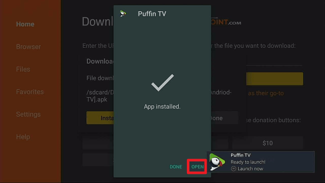 install puffin tv on a firestick step 17